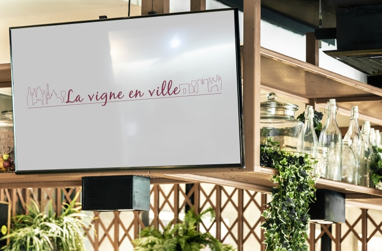 TV screen mockup in a restaurant